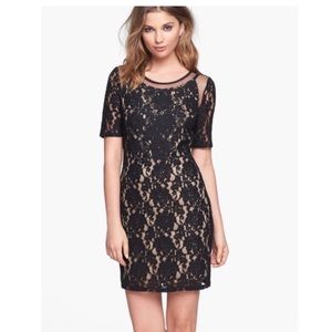 ASTR black lace mesh dress XS mini dress